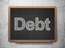 Bankwezenconcept: Schuld op bordachtergrond Stock Fotografie