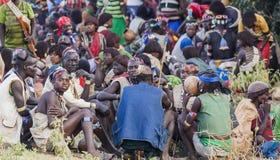 Banna people at village market. Key Afar, Omo Valley. Ethiopia Royalty Free Stock Photography