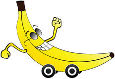 Bannana car. Happy banana car isolated on white Royalty Free Stock Photography