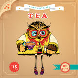 Banne of tee with owl Stock Photo