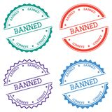Banned badge isolated on white background. Flat style round label with text. Circular emblem vector illustration Royalty Free Stock Images