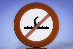 Banned bathing sign. In the harbor Stock Photography