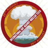 Banning Button with Mushroom Cloud During Day against Nuclear Tests, Vector Illustration royalty free illustration