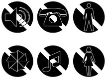 Banned items series two black. Six symbols showing things that are banned or not permitted, no sound, no telephones, no men, no photography, no music no women Royalty Free Stock Images