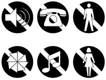 Banned items series two white. Six symbols showing things that are banned or not permitted, no sound, no telephones, no men, no photography, no music no women Stock Images