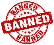 Banned red grunge round vintage stamp Royalty Free Stock Images