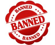 BANNED red round rubber stamp Stock Photography