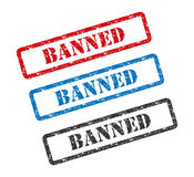 BANNED set rubber stamp isolated on background Royalty Free Stock Photography