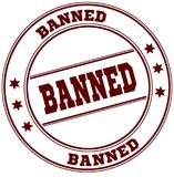 BANNED simple red stamp Stock Photo