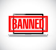 Banned stamp over a laptop. illustration design. Graphic over white Royalty Free Stock Images