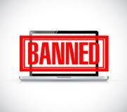 Banned stamp over a laptop. illustration design Royalty Free Stock Images