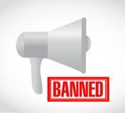 Banned stamp over loudspeaker. illustration design. Graphic over white Stock Image