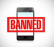 Banned stamp over a phone. illustration design. Graphic over white Royalty Free Stock Photos