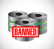 Banned stamp over servers. illustration design. Graphic over white Royalty Free Stock Image
