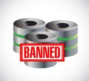 Banned stamp over servers. illustration design Royalty Free Stock Image