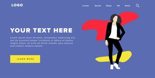 Flat Design Modern Colorful Web Banner and Slider Include Ui Elements With Standing Self-Confidence Woman Silhouette Landing Page stock illustration