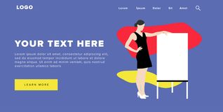 Flat Design Modern Colorful Web Banner and Slider Include Ui Elements With Standing Self-Confidence Woman Silhouette Landing Page vector illustration