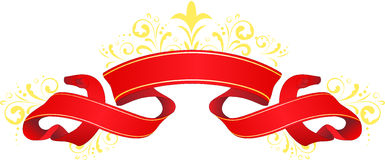 Banner. Decorative red banner with swirls Royalty Free Stock Photography