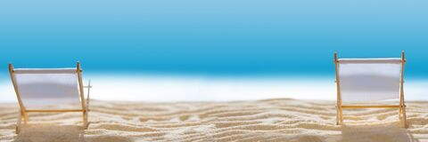 Free Banner 3:1. Deck Chairs On Sandy Beach With Blurry Blue Ocean And Sky. Social Distancing Or COVID-19 Protection At Summer Holidays Stock Image - 184607161