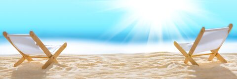 Free Banner 3:1. Deck Chairs On Sandy Beach With Blurry Blue Ocean And Sun Beams On Sky. Social Distancing Or COVID-19 Protection At Royalty Free Stock Photo - 184606975