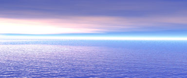 Banner 3d. 3d,banner and sea,sunset Royalty Free Stock Photo