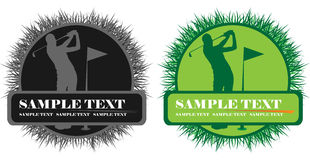Banner. Green and B&W banner with golf player Stock Image