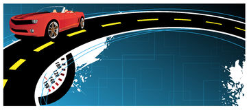 Banner. Red car on the abstract background Royalty Free Stock Photography