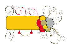 Banner. Yellow banner with scrolls and circles on a white background Royalty Free Stock Image