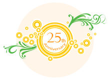 Banner. Illustration of 25th anniversary banner with bright light effect Royalty Free Stock Image