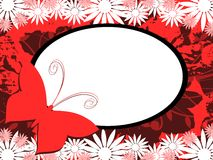 Banner on abstract colorful background with flowers. Image representing a banner on an abstract background made with colorful fantasy, butterfly and flowers. An stock illustration