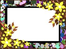 Banner on abstract colorful background with flowers. Image representing a banner on an abstract background made with colorful fantasy and flowers. An idea for stock illustration