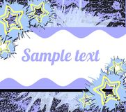 Banner on abstract colorful background with stars. Image representing a banner on an abstract background made with colorful fantasy. An idea for greeting cards stock illustration