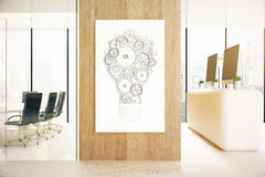 Banner with abstract light bulb. Banner with abstract cogwheel light bulb hanging on wooden wall in office interior with city view. Idea concept. 3D Rendering Stock Photos