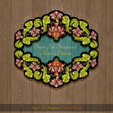 Banner from abstract shiny flowers and leaves of peony on wood background Royalty Free Stock Photo
