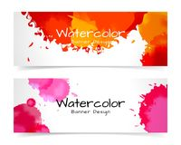Banner with abstract watercolor painting on paper. Banner with abstract watercolor painting on paper, illustration design stock illustration