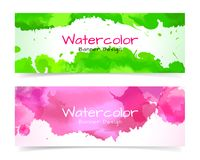 Banner with abstract watercolor painting on paper. Royalty Free Stock Images
