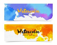 Banner with abstract watercolor painting on paper. Banner with abstract watercolor painting on paper, vector illustration design royalty free illustration