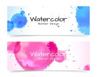 Banner with abstract watercolor painting on paper. Royalty Free Stock Image