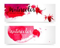 Banner with abstract watercolor painting on paper. Banner with abstract watercolor painting on paper, illustration design Royalty Free Stock Images