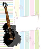 Banner with an acoustic guitar Royalty Free Stock Image