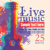 Banner with acoustic guitar on grunge background. Vector banner with multicolor acoustic guitar on abstract colored background, lettering live music and place Stock Photo