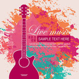 Banner with an acoustic guitar. On grungy color background Stock Image
