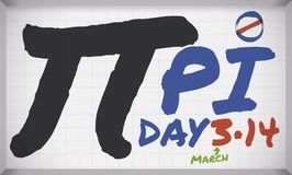 Whiteboard with Pi Symbol written with Markers for Pi Day, Vector Illustration. Banner with acrylic board with giant pi symbol, texts written with markers and 3 vector illustration