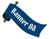 BANNER AD on blue paper scroll cartoon. Illustration image Stock Photos