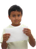 Banner add children. Children displaying a banner add isolated over a white background Stock Images