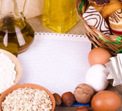 Banner add for recipe. With tasty cakes, eggs, olive oil, eggs, oatmeal and nuts Stock Photography