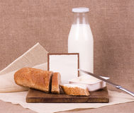 Banner add for recipe with bread and milk. For a design Stock Photography