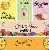 Banner, adreskaartje, vlieger, mooie achtergrond, detox, veganist, het van letters voorzien, fruit, vaatwerk voor smoothies, verp stock afbeeldingen