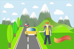 Banner Adventure. Mountain landscape in the summer. Dark green mountain with a white top, a grey asphalt road. The tourist stops the car. Modern flat design Stock Photos