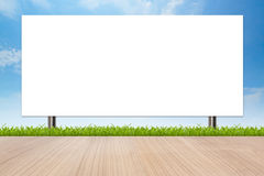 Banner advertising a large signs with isolated white space. On blue sky Stock Photography